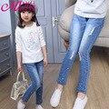2016 весна осень мода девушки джинсы горный хрусталь джинсовые брюки с отверстием причинно большой девушки узкие брюки 3 - 13 лет