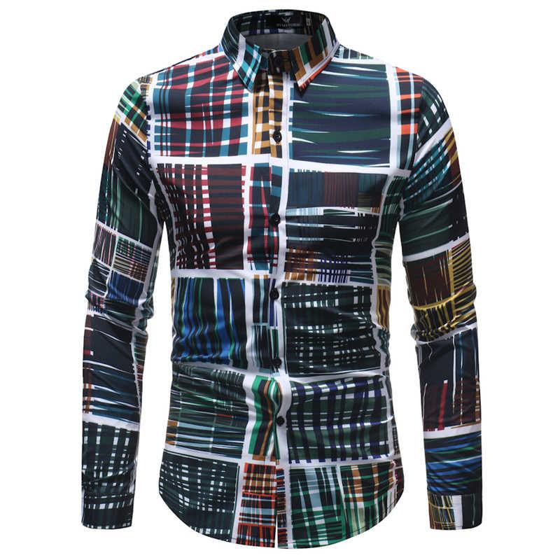 남성 하와이 셔츠 긴 소매 꽃 프린트 망 드레스 공식 셔츠 camisa social masculina 남성 캐주얼 슬림 피트 탑 셔츠 5xl