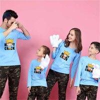 Yeni Varış Aile Bak Karikatür Desen Tişört Aile Baba Anne Oğul Giysiler Üst Tee Donanma Stripped Aile Eşleştirme Kıyafetler
