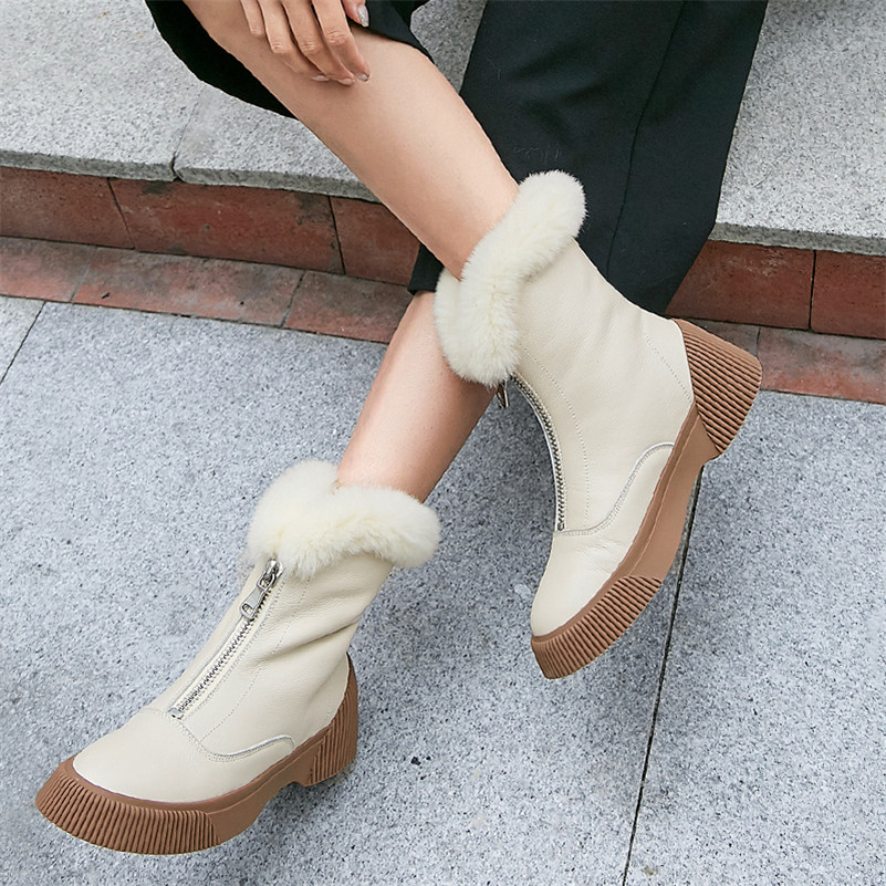 Image 5 - FEDONAS New Arrival Women Cow Leather Ankle Boots Zipper Keep Warm Winter Snow Boots Platforms Casual Shoes Woman Basic Boots-in Ankle Boots from Shoes
