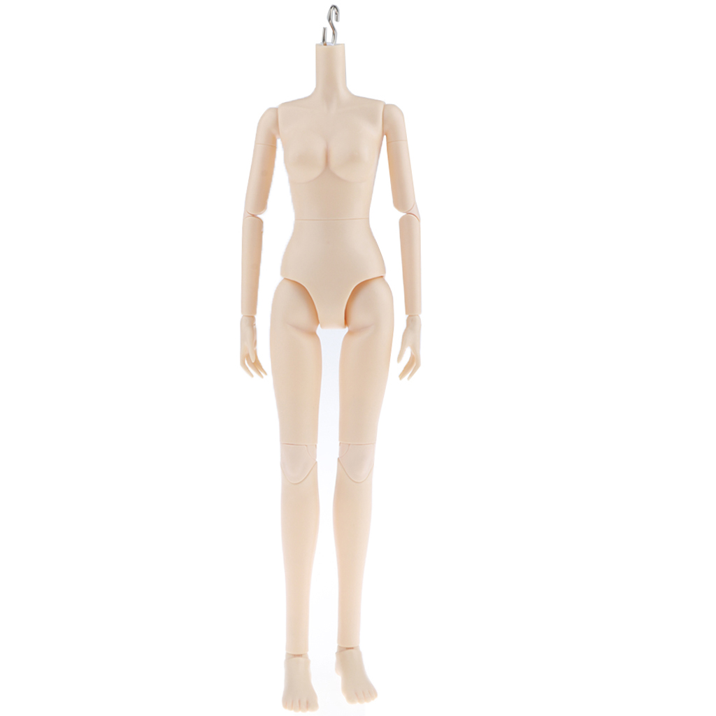 Flexible 16 Joints <font><b>1/4</b></font> <font><b>BJD</b></font> SD Modern Girl Naked Body without Head Normal Skin, for OB Kurhn Doll Custom Use - Little Breast image