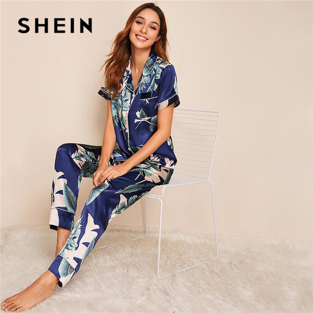 SHEIN Tropical Print Satin Pajamas for Women Casual Short Sleeve Pocket Sleepwear Summer Long Pants Lingerie Ladies Pajama set