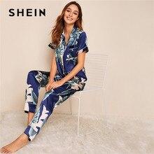 SHEIN Tropische Print Satijn Pyjama voor Vrouwen Casual Korte Mouw Pocket Nachtkleding Zomer Lange Broek Lingerie Dames Pyjama set