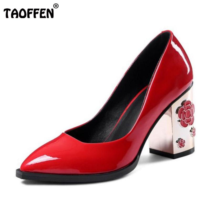TAOFFEN Size 34-43 Vintage Women Real Genuine Leather High Heel Shoes Women Flower Pointed Toe Thick Heel Pumps Women Footwears taoffen size 32 48 sexy women bowtie round toe high heel shoes women ankle strap thick heels pumps party dress women footwears