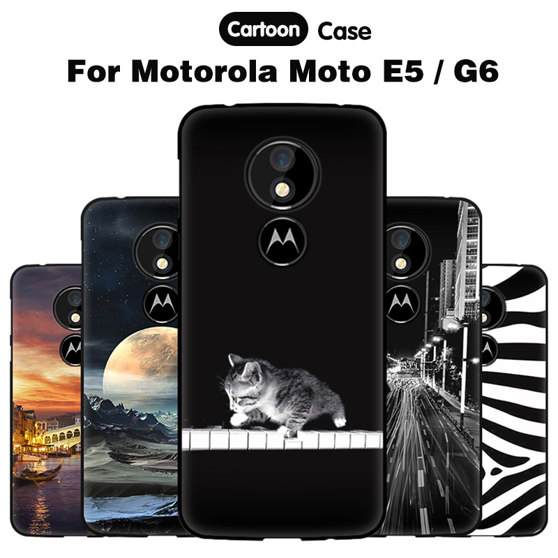 JURCHEN Coque Case For Motorola Moto E5 Case 2018 Soft TPU Cartoon Cute Phone Silicone Back Cover For Motorola Moto G6 Case Etui