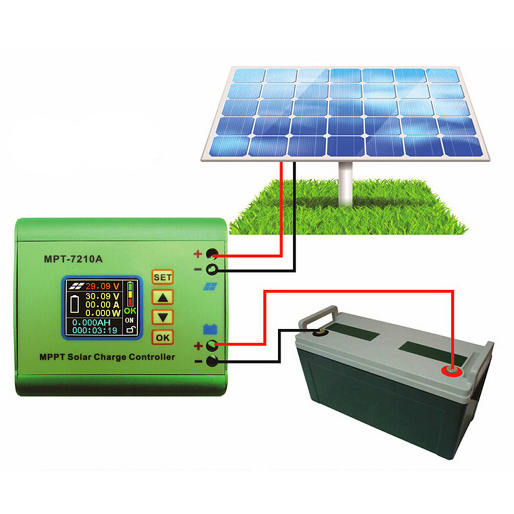 MPT-7210A LCD affichage batterie solaire régulateur de Charge régulateur DC-DC Booster tension ampèremètre accessoires outils électriques