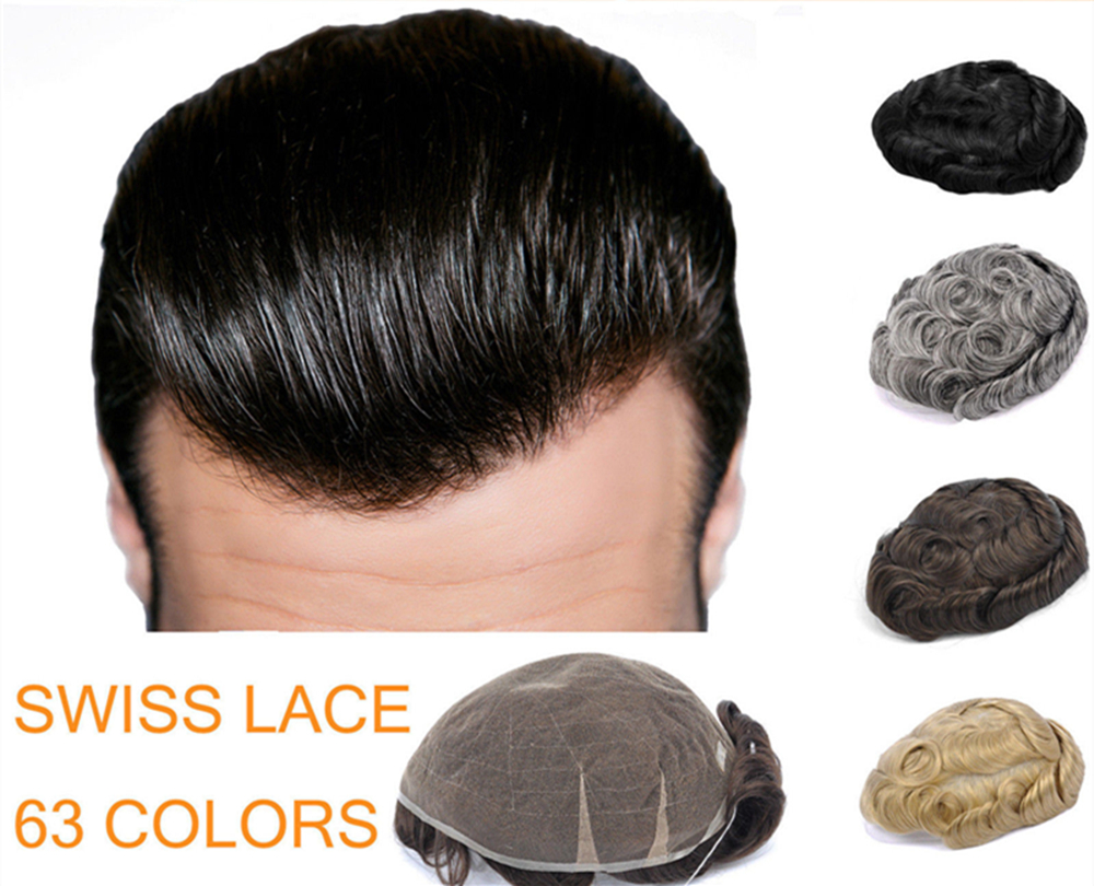 62 цвета, хорошее качество, парик, швейцарское кружево 6 S светильник, волнистый средний Светильник, мужской парик для волос, для любого разме
