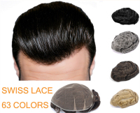 62 Colors Good Qulity Toupee Swiss Lace 6 Slight Wave Medium Light Mens Hair Piece Toupee Cut for any size