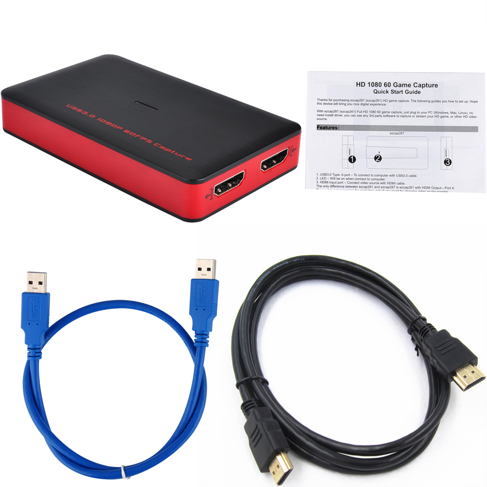 Ezcap 287 Upgrade to 261 1080P 60fps Video Capture Card Dongle Phone Game Camera Recording Box HDMI to USB 3.0 PC Live Streaming