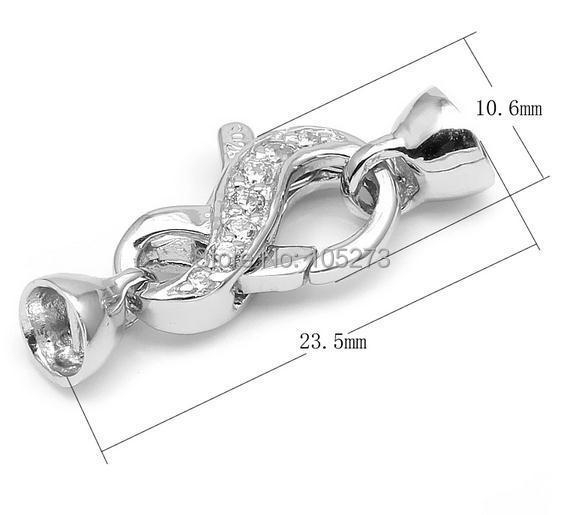 Chaîne Zirconium le fermoir en argent, 23.5 MM bricolage X8.5 collier en cristal de perle naturelle de haute qualité, fermoir bracelet.-L-71