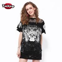 7mang 2017 Summer Women Fashion Long Street Black Sexy Skeleton Print T Shirt Party Short Sleeve