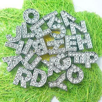 Wholesale 1300pcs lot 8mm A Z full rhinestones slide letter Alphabet fit 8mm bracelet wristband