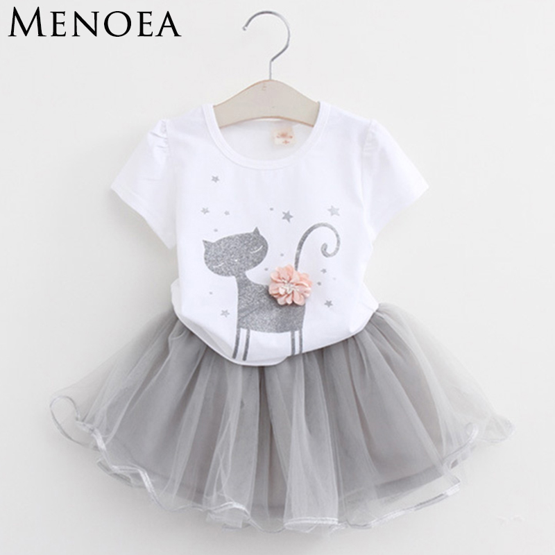 Menoea Girls Dress  New 2018 Clothes 100% Summer Fashion Style Cartoon Cute Little White  Cartoon Dress Kitten Printed Dress drop shoulder printed dress
