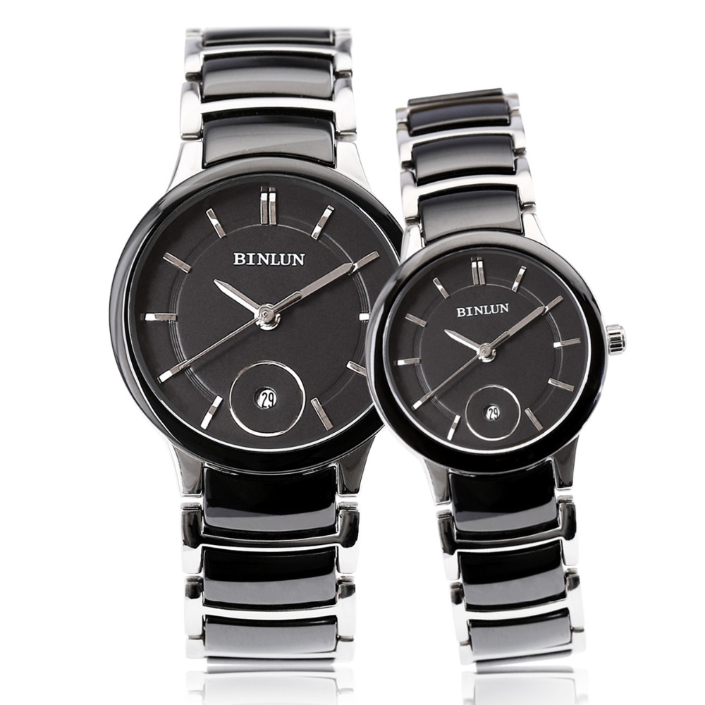 BINLUN His and Hers Pair Couples Watches Ceramic Waterproof Quartz Watch for Women and Men carnival ceramic pair watch men and women 100
