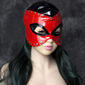 Cosplay Red PU Leather Fox Semi-Closed Open Eyes Bondage Mask