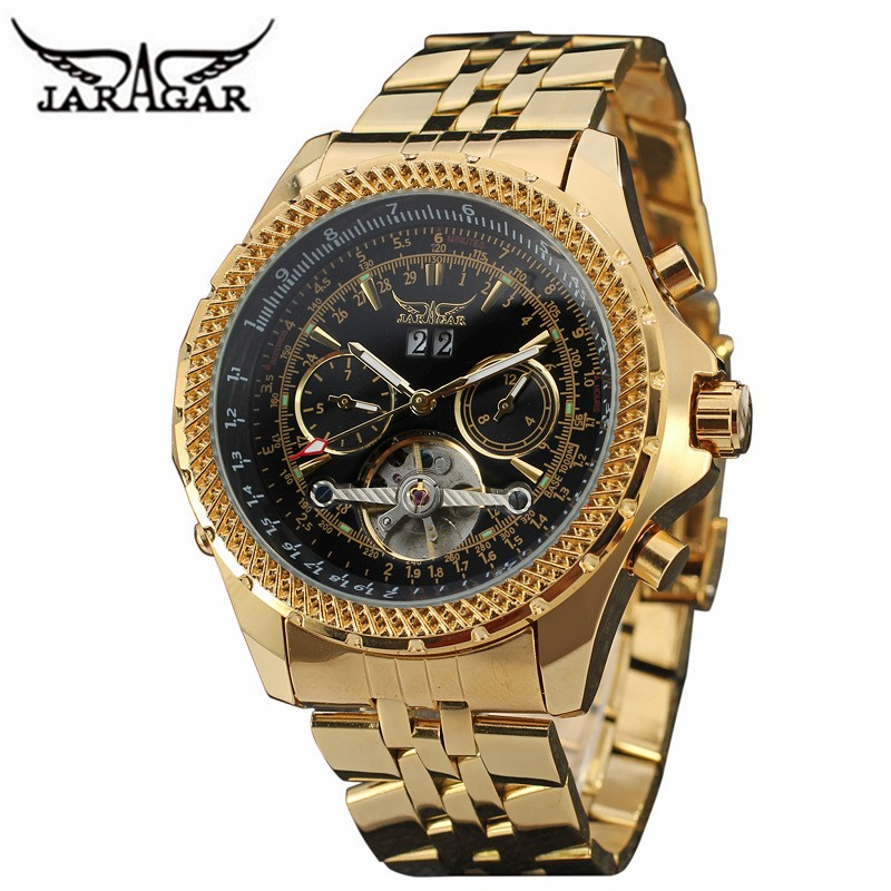 Golden Big Dial Mens Watches Top Brand Luxury Automatic Self wind Relogios Masculino Military Watch Mechanical