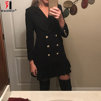 Women Spring Double Breasted Ladies Office Dress Vintage Slim Dresses Women Work Casual Sheath Notched Fitted