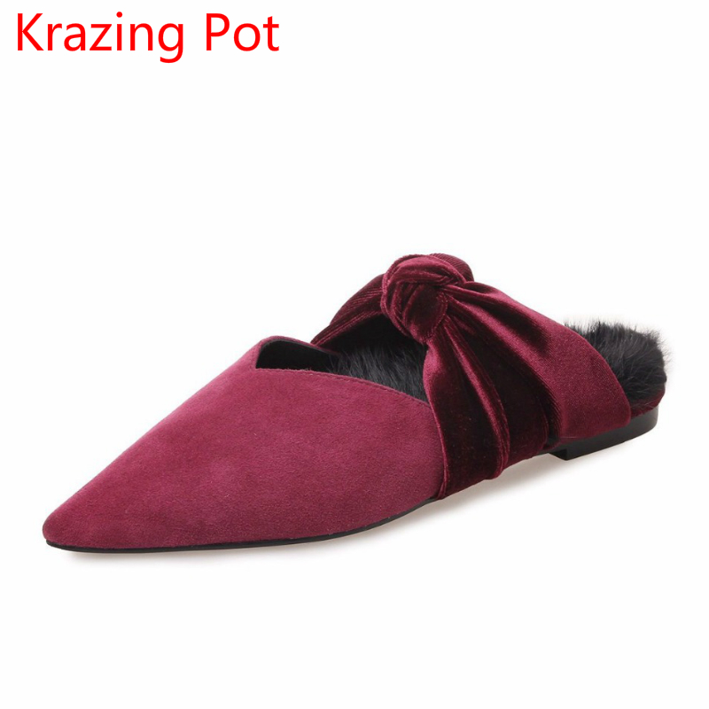 Fashion Sheep Suede Fur Elegant Preppy Style Bowtie Sweet Spring Shoes Pointed Toe Flats Slingback Women Outside Slippers L71 plus size 34 41 black khaki lace bow flats shoes for womens ds219 fashion round toe bowtie sweet spring summer fall flats shoes