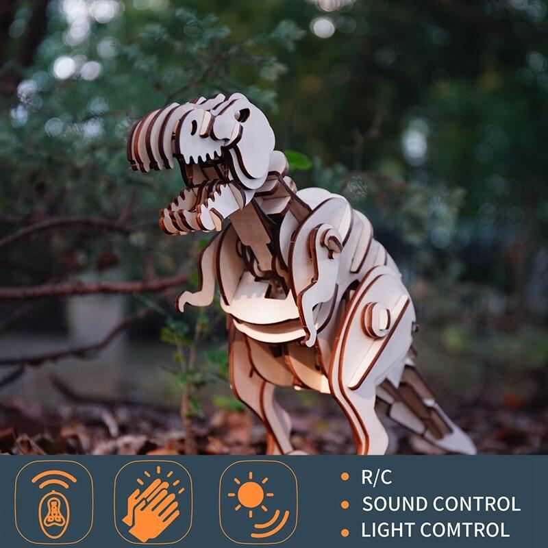Oyuncaklar ve Hobi Ürünleri'ten Aksiyon ve Oyuncak Figürleri'de Robud R/C + Ses Kontrolü + Işık Kontrolü Dinozor Mekanik Model 3D Ahşap Bulmaca Otomatik Hareket Büyük dinozor oyuncaklar Çocuklar için'da  Grup 1