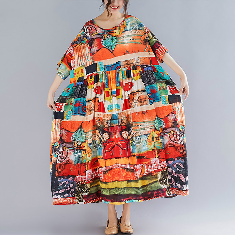 CUERLY Plus Size Women Print Dress Summer Sundress Cotton Female Lady CUERLY Loose Casual Holiday Maxi Dress Big Size 5XL 6XL in Dresses from Women 39 s Clothing
