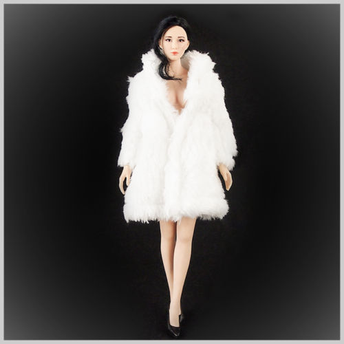 "1/6 Female White Gorgeous & Sexy & Elegant Fur Coat Clothing Model Toys For 12"" PHICEN 1/6 Female Action Figure Body Accessory"