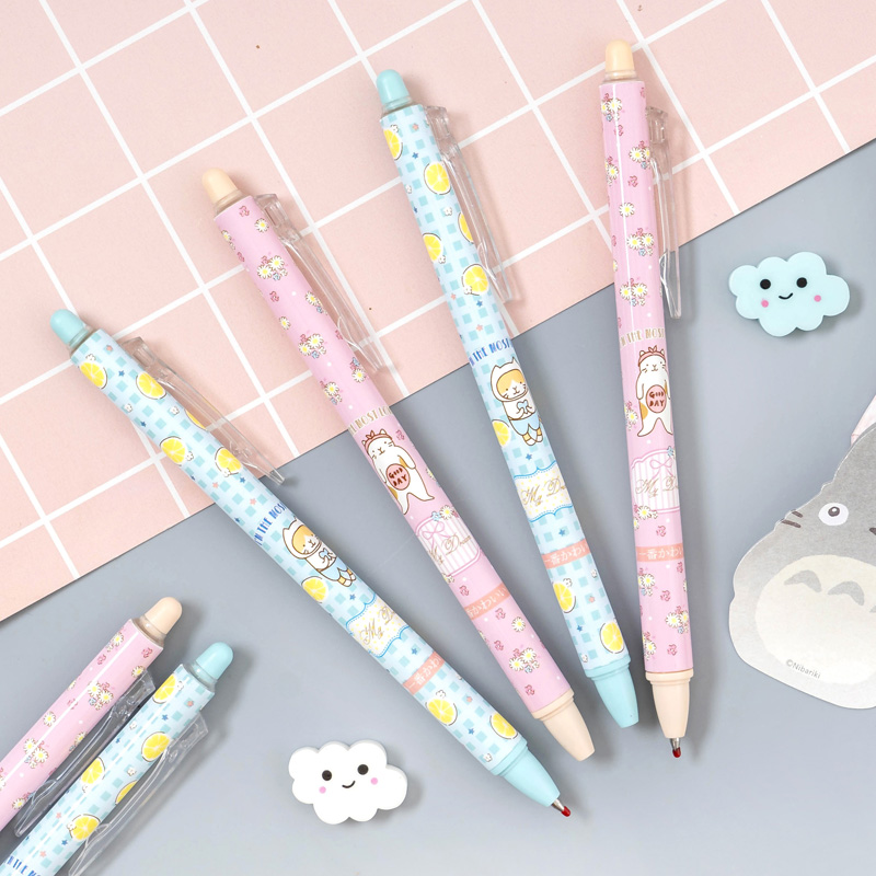 2pcs/lot Kawaii Lemon Cats Erasable Gel Pen Rollerball Pen Stationery School Office Supply