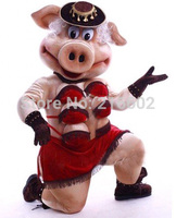 High quality Adult size Striptease Strip Pig Mascot Costumes Outfit Swinish Free Shipping