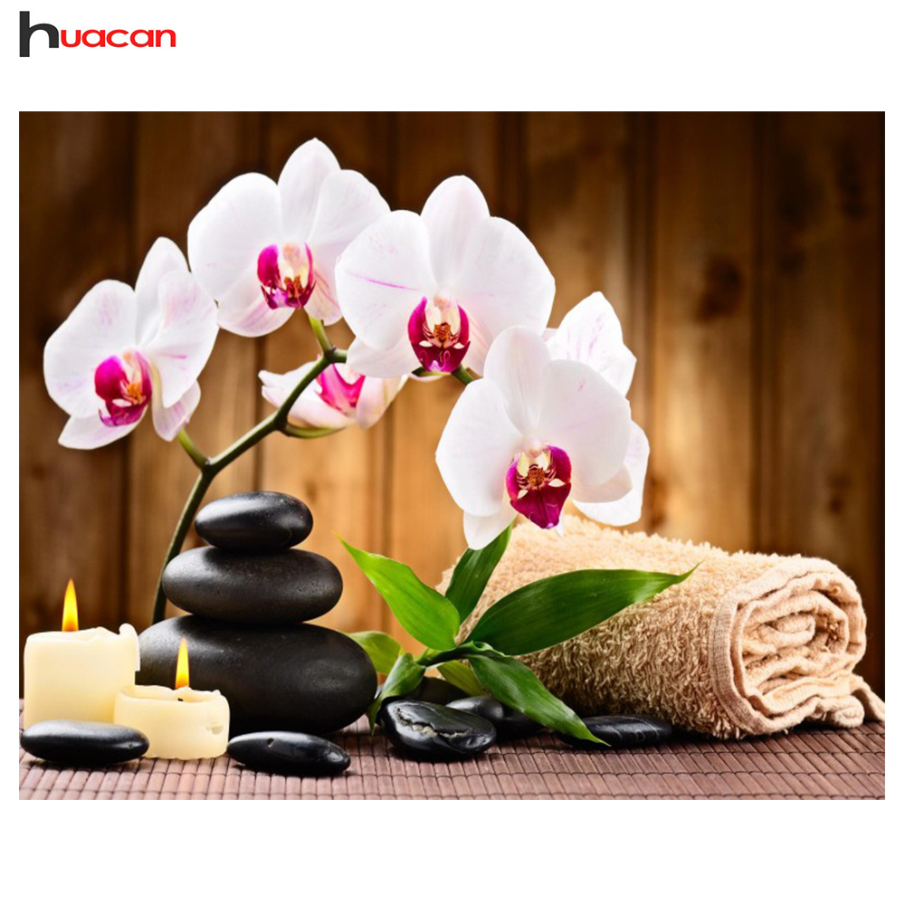 Huakan DIY Diamond Embroidery Orchid stone square pattern rhinestone sets diamond painting cross-stitch Kit for ...