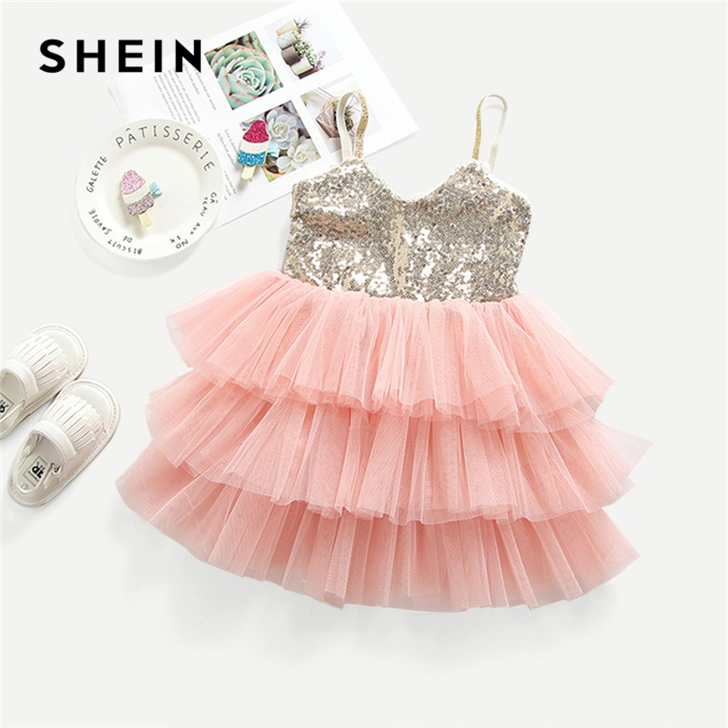 SHEIN Toddler Girls Contrast Sequin Layered Hem Party Cami Dress Girls Clothing 2019 Sleeveless A Line Kids Dresses For Girls trendy boat neck cap sleeve floral print a line zipper women dress