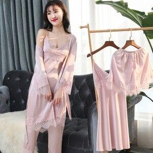 Image 1 - Mechcitiz 2019 Vrouwen Satijn Nachtkleding 5 Stukken Pyjama Set Sexy Kant Bathobe Pyjama Slaap Lounge Pijama Zijde Robe Night Pak