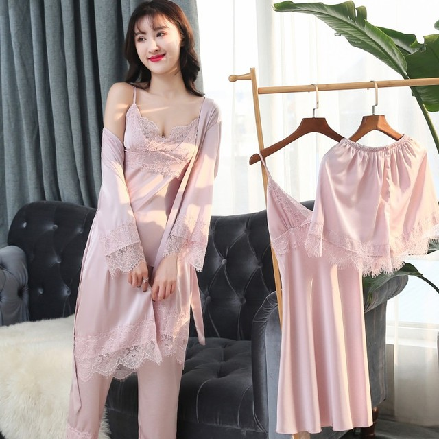 Mechcitiz 2019 Vrouwen Satijn Nachtkleding 5 Stukken Pyjama Set Sexy Kant Bathobe Pyjama Slaap Lounge Pijama Zijde Robe Night Pak