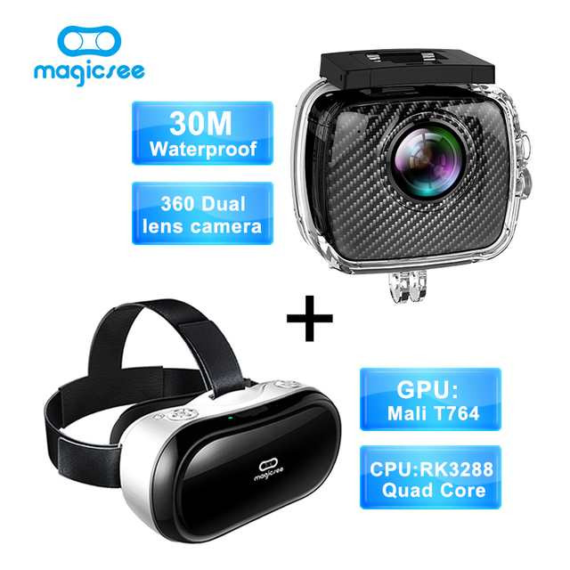 Magicsee P3 Sport Action camera 360 Camera Dual Lens waterproof case+Magicsee M1 all in one RK3288 Quad Core VR 3D Glasses
