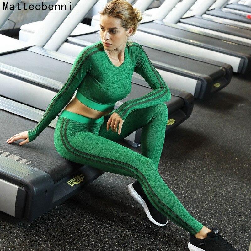 Women Long sleeve sport Suit green Gym Yoga Sets 2 Pieces gym clothing Sportwear Yoga Set fitness set Workout Set Fitness Wear