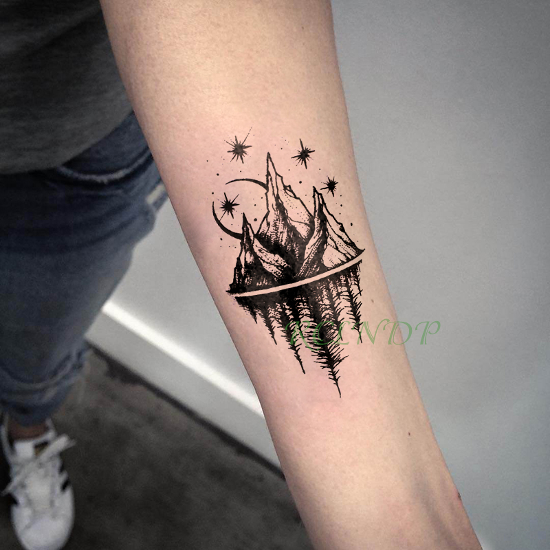 Waterproof Temporary Tattoo Stickers Moon Hill Forest Star Fake Tatto Flash Tatoo Tatouage Body Art Hand Foot For Girl Women Men Temporary Tattoos Aliexpress