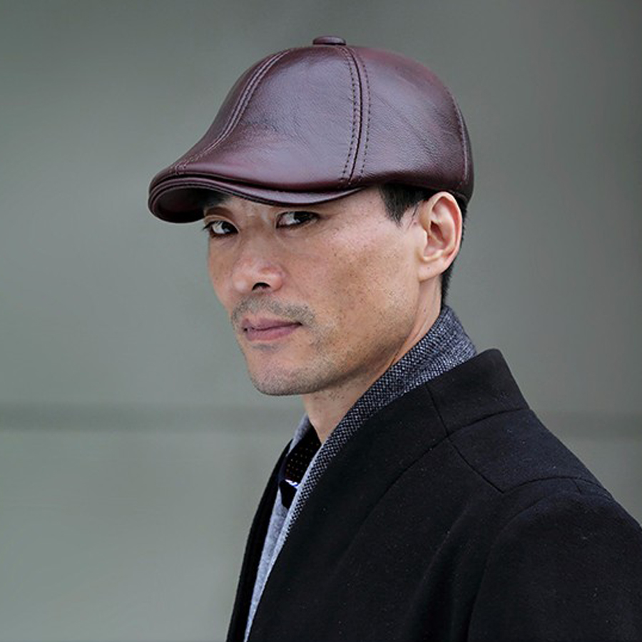 Wholesale Winter 2017 Casual Genuine Cowhide Leather Visor Duckbill Flat Caps Newsboy Hat For Men Cabbie Hats Freeshipping
