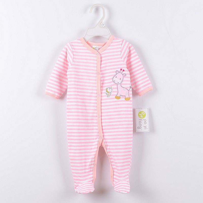 0 12M Baby Boy Rompers Pink Stripe Horse Baby Rompers Long Sleeves O Neck Baby Clothing Character Pattern in Rompers from Mother Kids