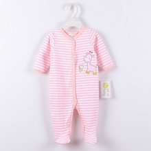 0-12M Baby Boy Rompers Pink Stripe Horse Baby Rompers Long Sleeves O-Neck  Baby Clothing Character Pattern white stripe pattern roll neck long sleeves drawstring waist playsuits