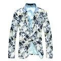 Осень мужская Белый Пиджаки Slim Fit Цветочные Печатные Бутик Короткие Тонкий Пальто Вскользь Пиджаки костюм homme