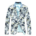 Autumn Men's White Blazers Slim Fit Floral Printed Boutique Short Thin Coat Casual Outwear costume homme