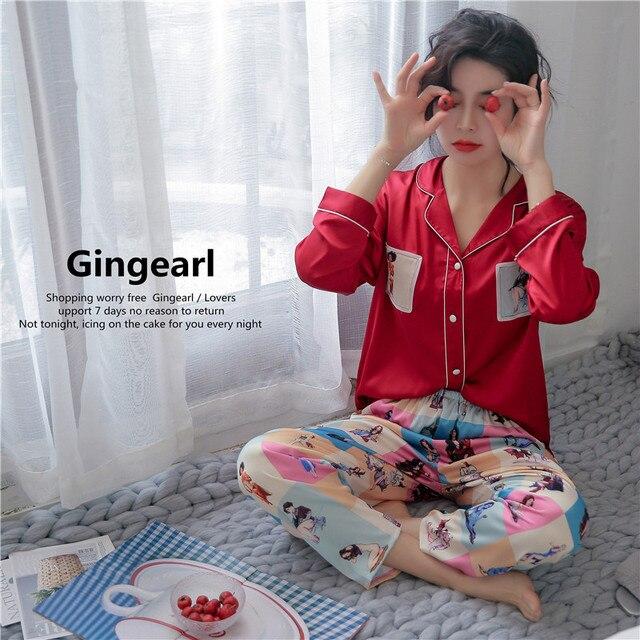 Smmoloa Wholesale Women Long Sleeve Silk Pajamas Satin Pijama