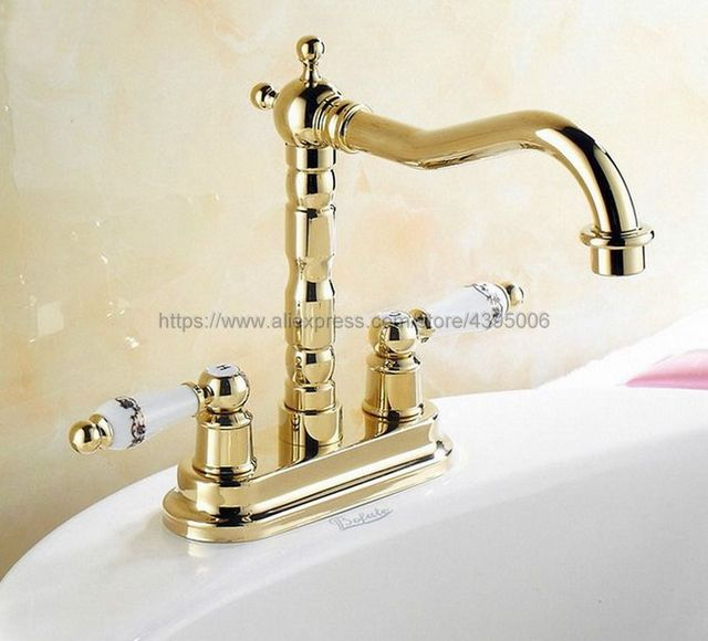 Luxury Gold Color Brass Deck Mount Two Hole Basin Sink Faucets Double  Handles Bathroom Vessel Sink Faucet Bnf322