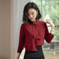 New 2019 Fashion Women Blouses & Shirts Wine Red Long Sleeve Office Ladies Work Wear Female Clothes OL Style