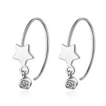 Серьги кольца серебряного цвета характерные звезды серьги для