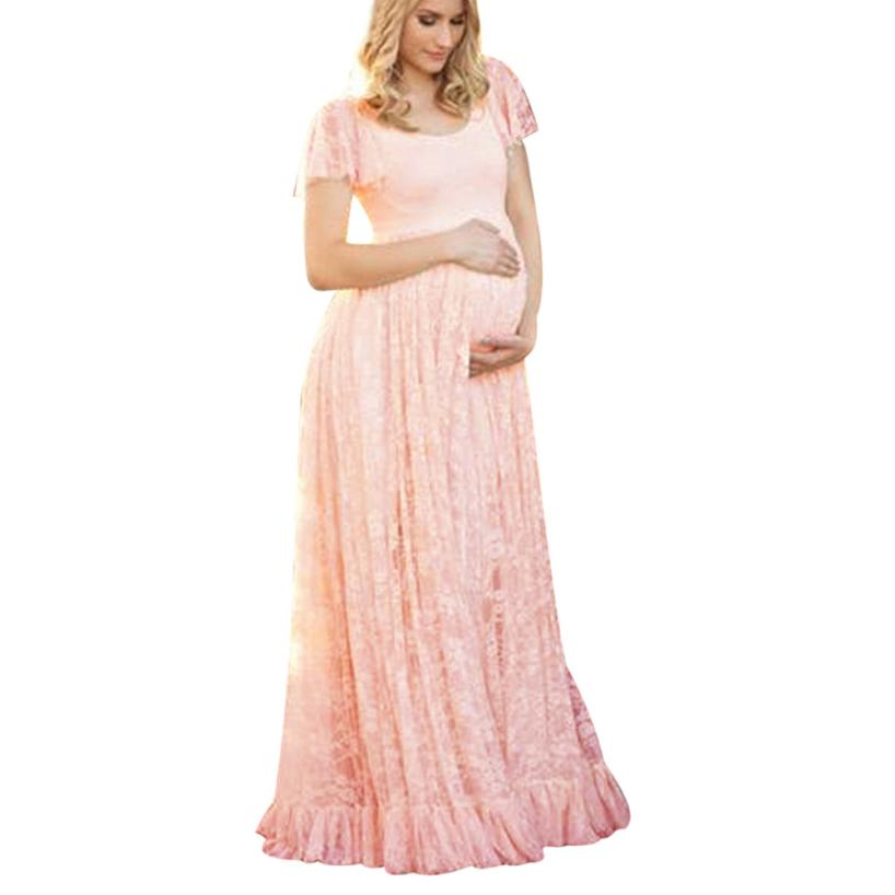Plus Size Maternity Dress For Photo Shooting O Neck Lace Dress