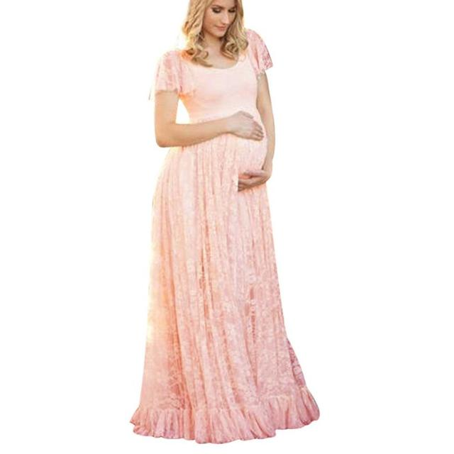 863cc885cf9 Plus Size Maternity Dress For Photo Shooting O Neck Lace Dress Maternty  Photography Props Short Sleeve Pregnant Long Dresses