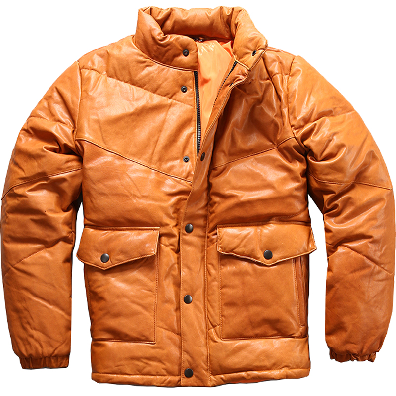 Down-Jacket Genuine-Leather Sheepskin Russian Winter Yellow Casual Thick Slim Plus-Size
