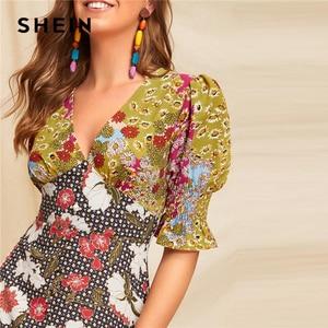 Image 5 - שיין Boho ססגוניות מקושקש קאף מעורב הדפסת Fit ואבוקת קיץ ארוך שמלת נשים העמוק V צוואר פאף שרוול קו סקסי שמלות