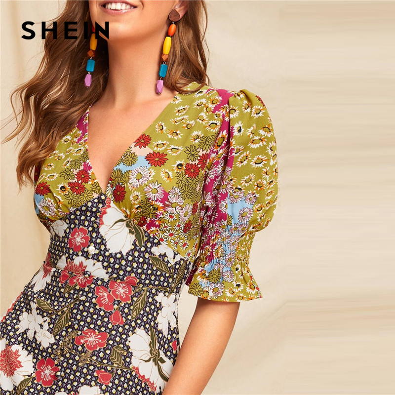 Image 5 - SHEIN Boho Multicolor Shirred Cuff Mixed Print Fit and Flare  Summer Long Dress Women Deep V Neck Puff Sleeve A Line Sexy  DressesDresses