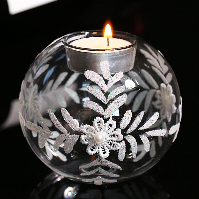 Round Glass Ball Tealight Candle Holders With White Flowers Wedding