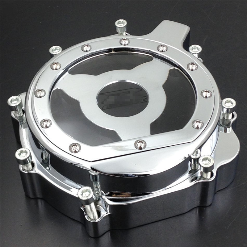 Chrome Motorcycle Engine Stator Cover Crankcase For Suzuki GSXR1000 03 04 GSXR 600/750 2004 2005 GSX-R600 GSX-R750 04 05 for motorcycle suzuki gsxr 600 750 2006 2013 engine stator cover see through chrome left side